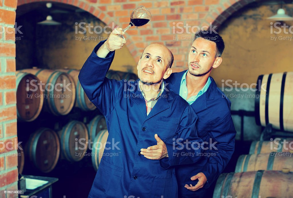 two men holding glass of wine stock photo