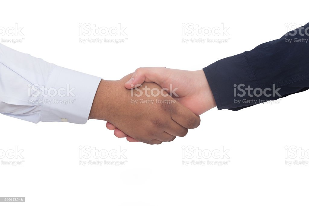 Two men holding hands stock photo