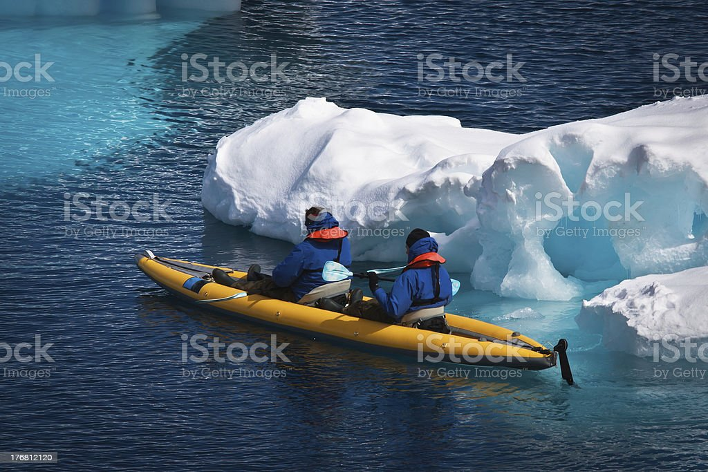 Two men in a canoe royalty-free stock photo