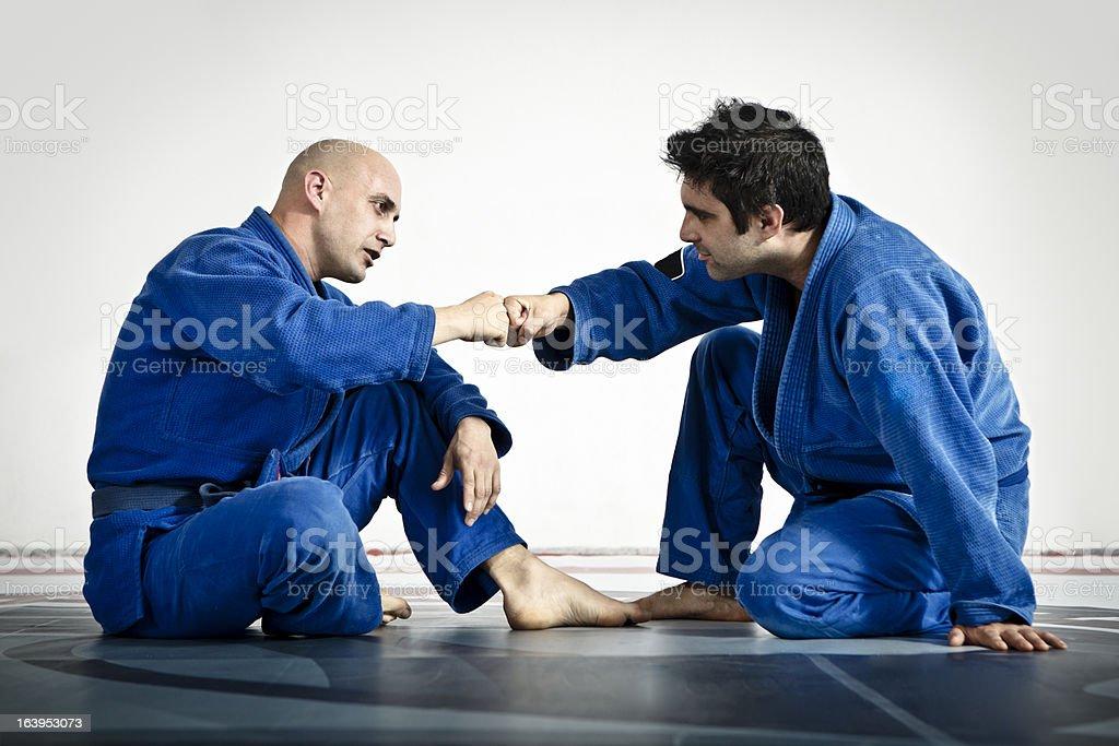 Two Men in Jiu-Jitsu Training stock photo
