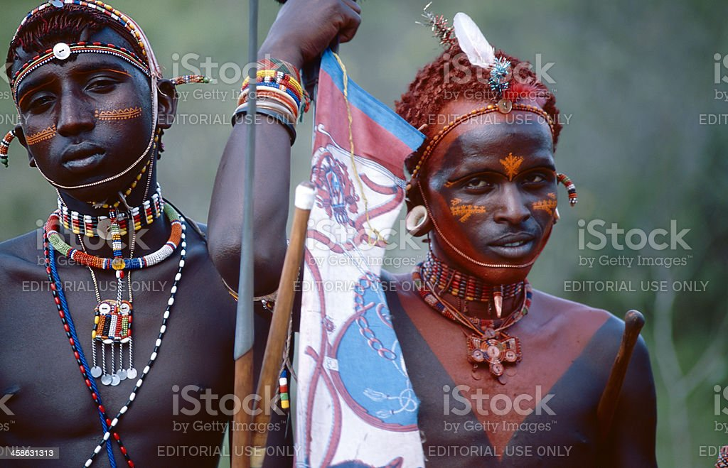Two men of the Samburu tribe with necklaces royalty-free stock photo