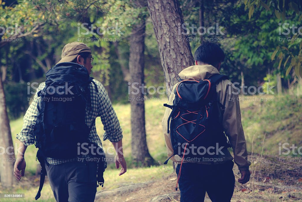 Two men of trekking stock photo