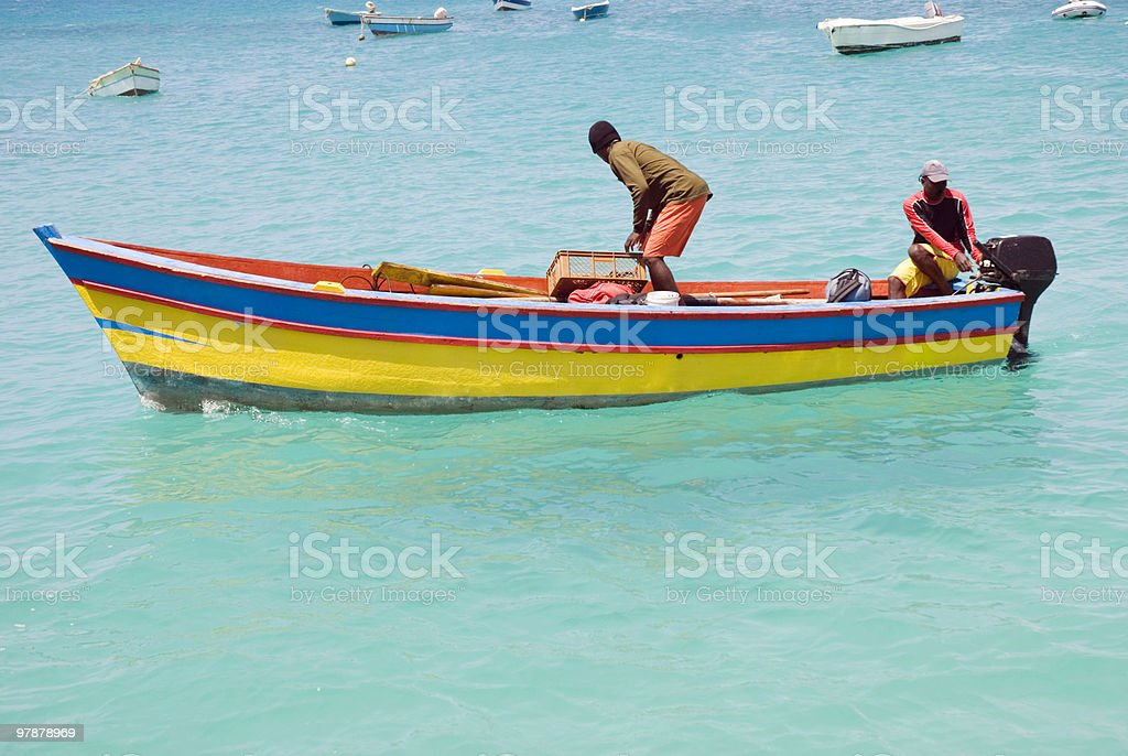 two men on fishing boat royalty-free stock photo