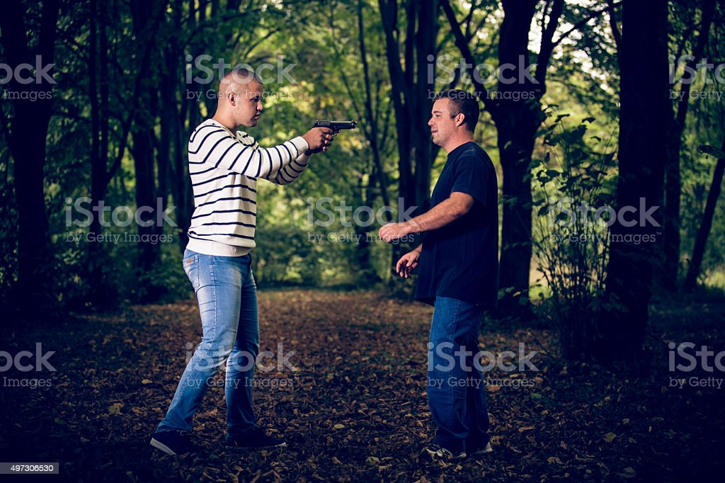 Two men practicing self-defens and martial arts stock photo