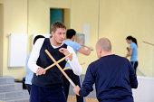 Two Men Practising Martial Arts