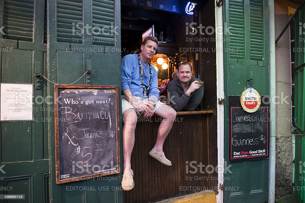 Men with cigars in New Orleans stock photo