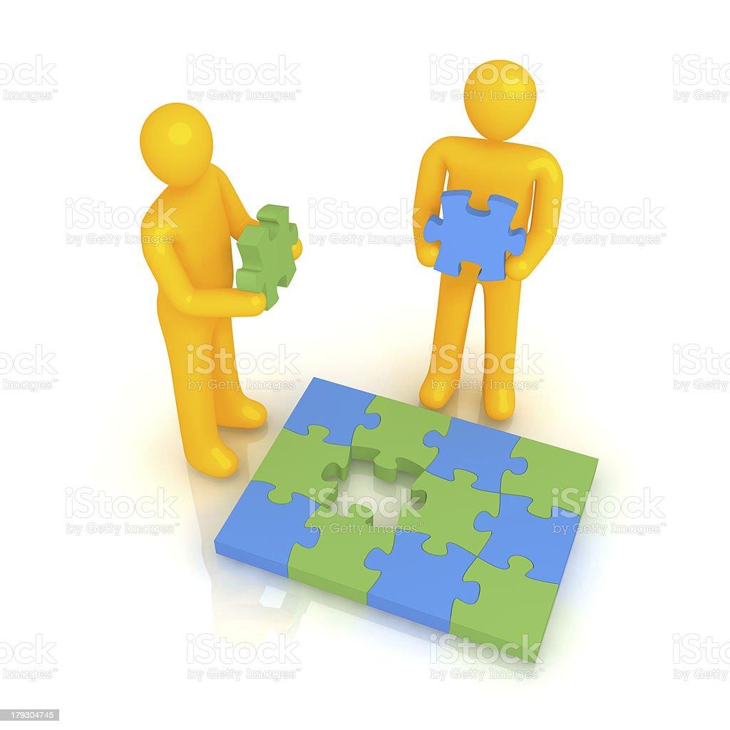 Two men solving puzzle stock photo