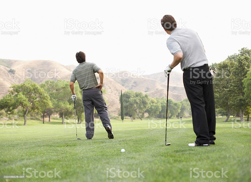 Two men standing on golf course, rear view royalty-free stock photo