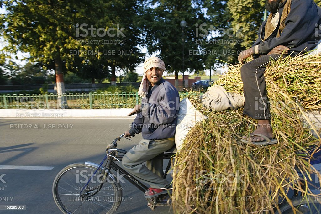 Two men transporting grass royalty-free stock photo