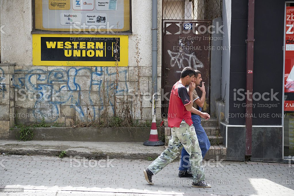 Western Union and people in Kosovo stock photo