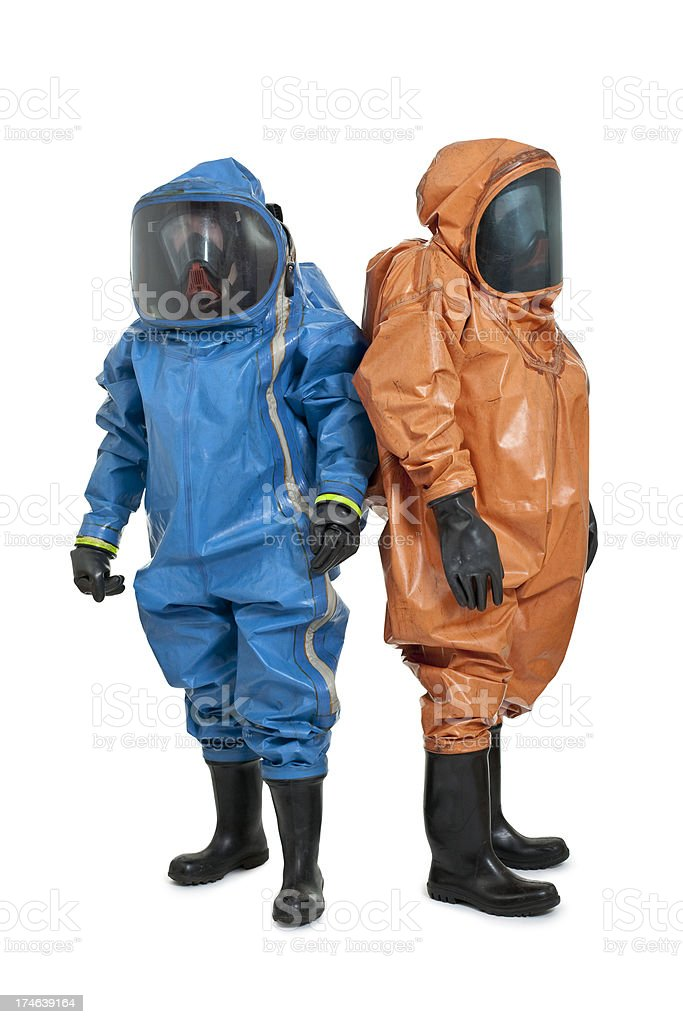 two men wearing chemical protection suit royalty-free stock photo