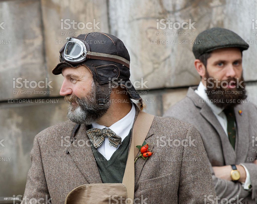 Two men wearing old fashioned tweed clothes stock photo