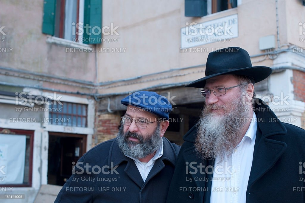Two Men with Beard in Jewish Quarter of Venice royalty-free stock photo