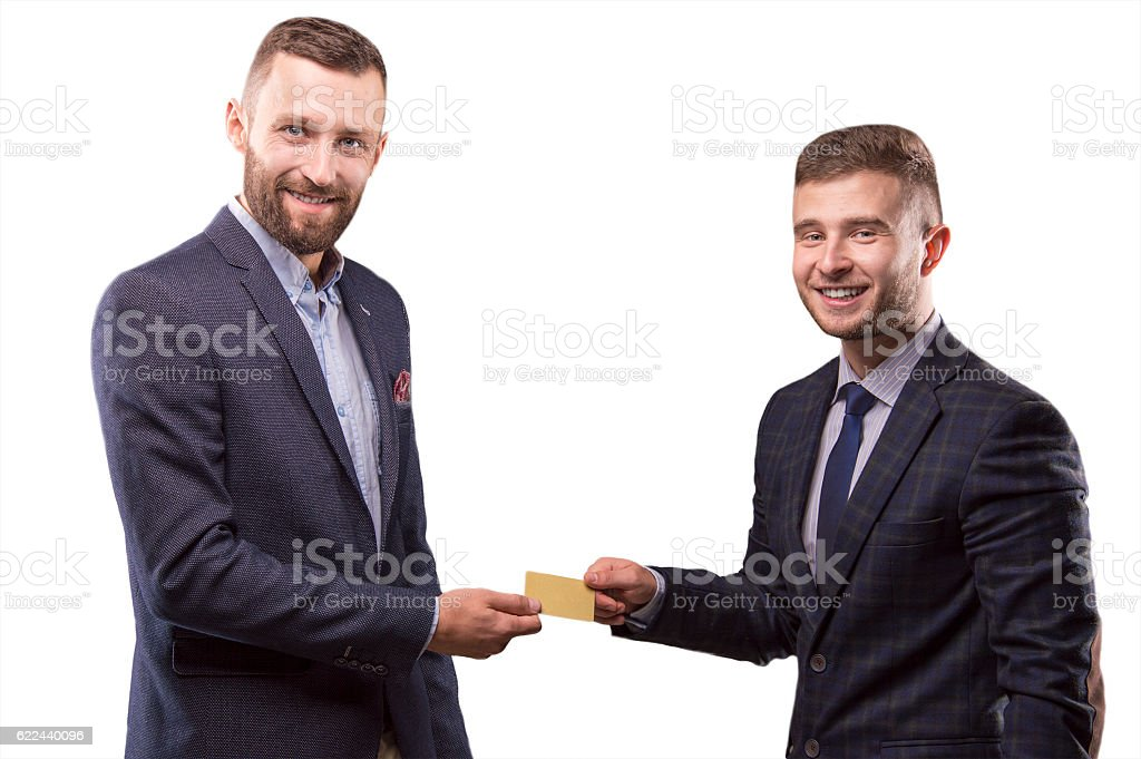Two men with the card in the hands of stock photo