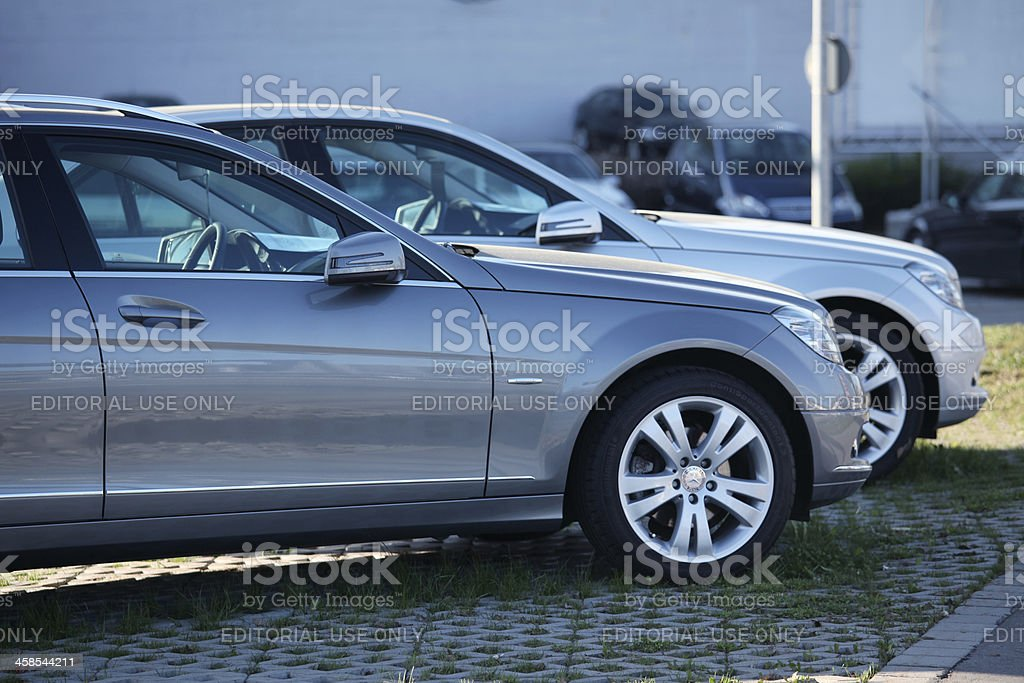 Two Mercedes-Benz C200 Avantgarde limousines stock photo