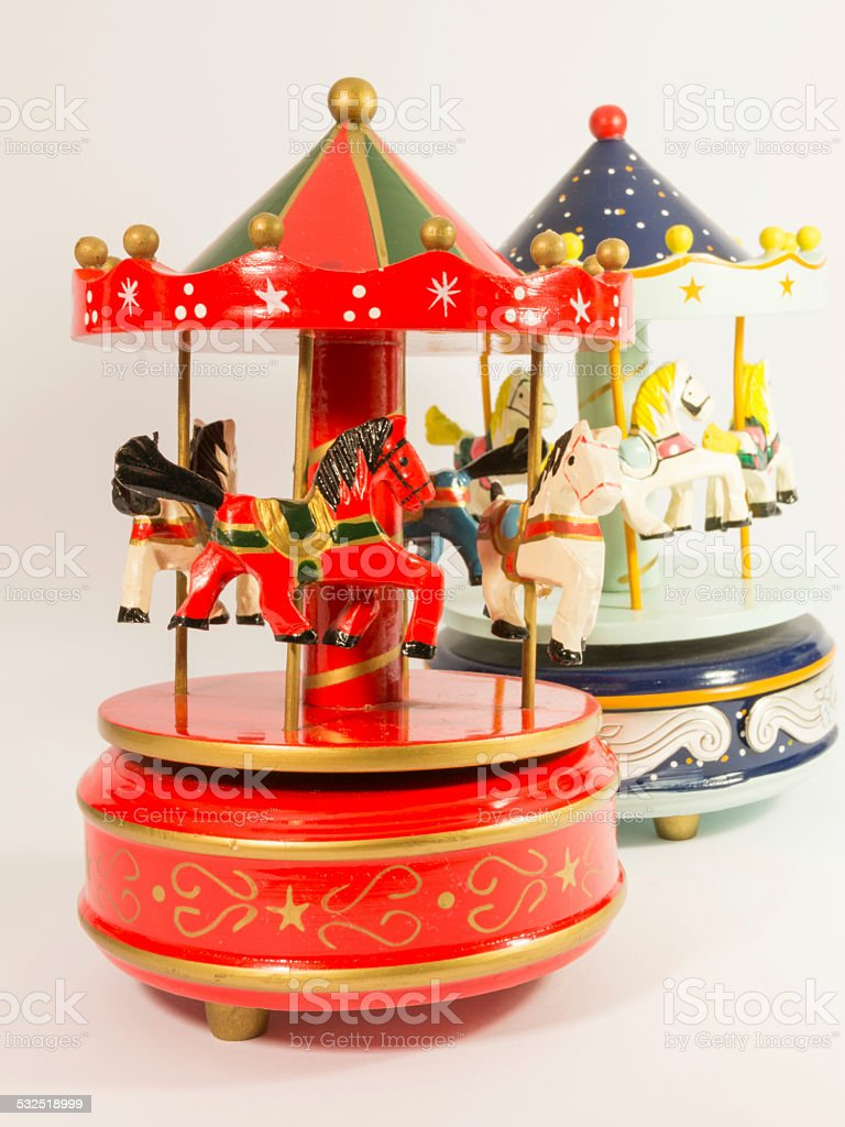 two merry-go-round horse carillon stock photo