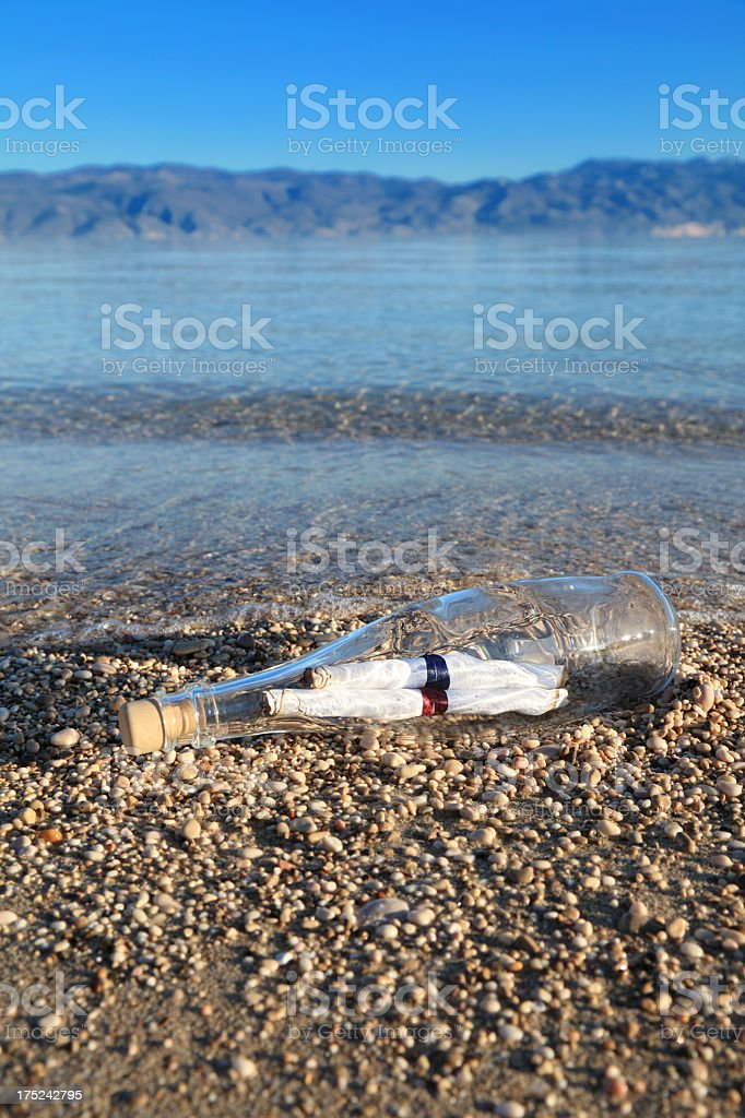 Two messages in a bottle royalty-free stock photo