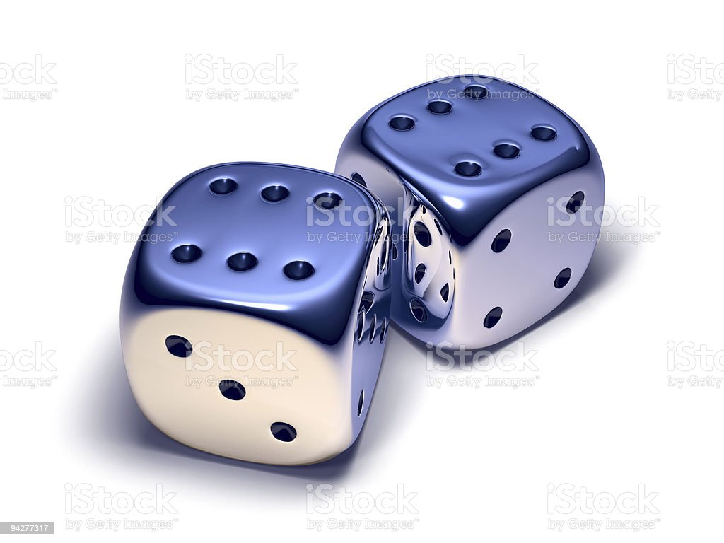 Two metal dice royalty-free stock photo