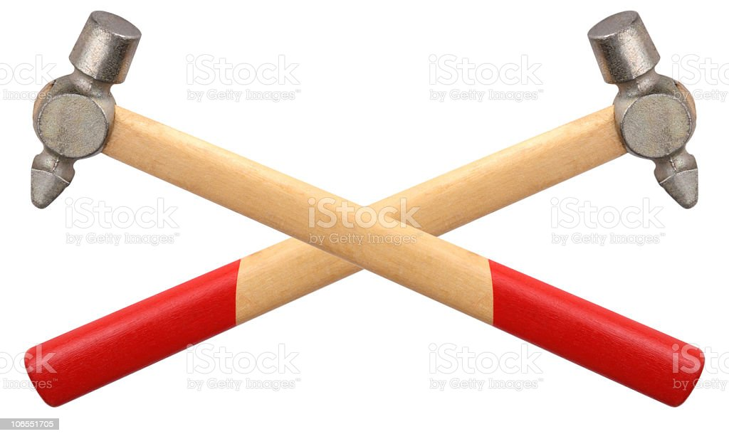 two metal hand hammer isolated stock photo