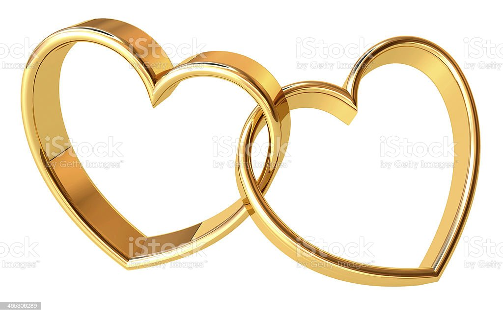 Two metal heart shaped rings interlinked stock photo
