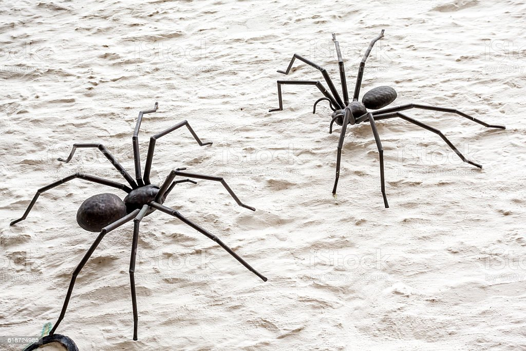 two metal spider stock photo