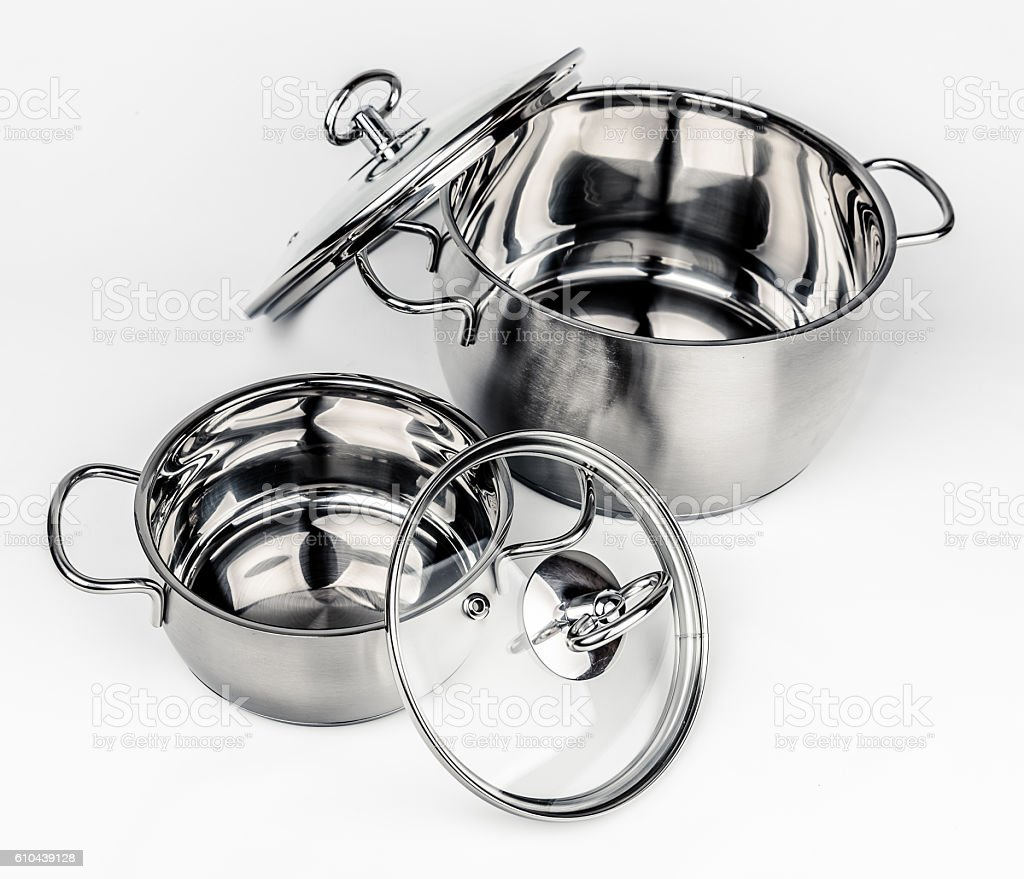 Two Metal stock pots with glass lid stock photo