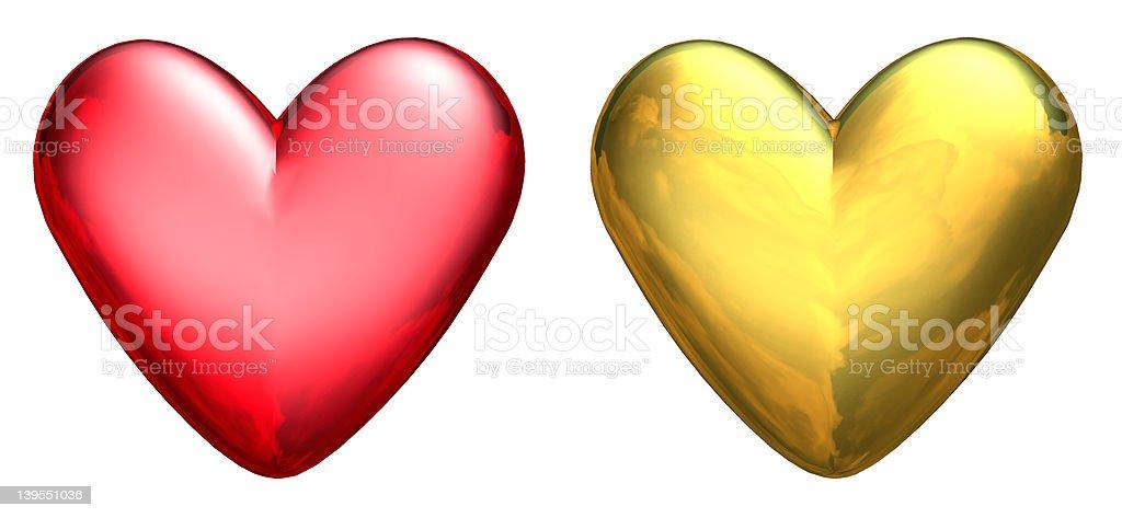 Two Metallic 3D Hearts royalty-free stock photo