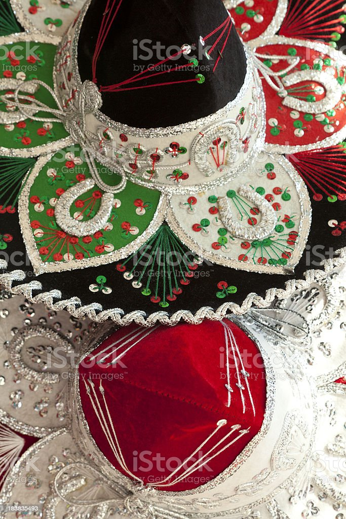 Two Mexican Sombreros, Hat, Festive, Close Up stock photo