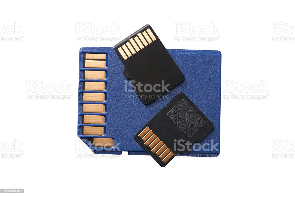 Two Micro SD Cards on Regular Size SD Card stock photo