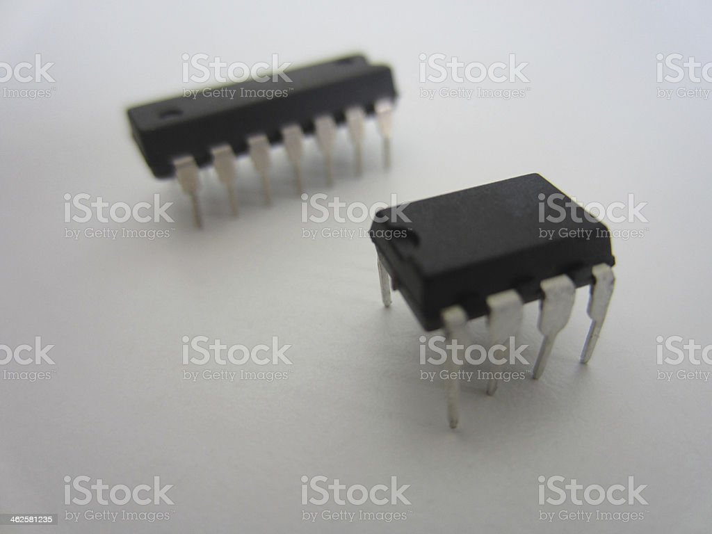 Two Microcontroller Chips stock photo