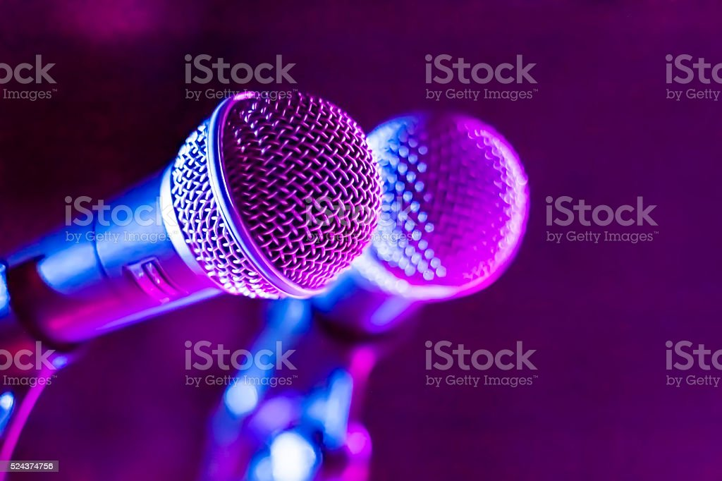 Two microphones expecting the start of the concert stock photo