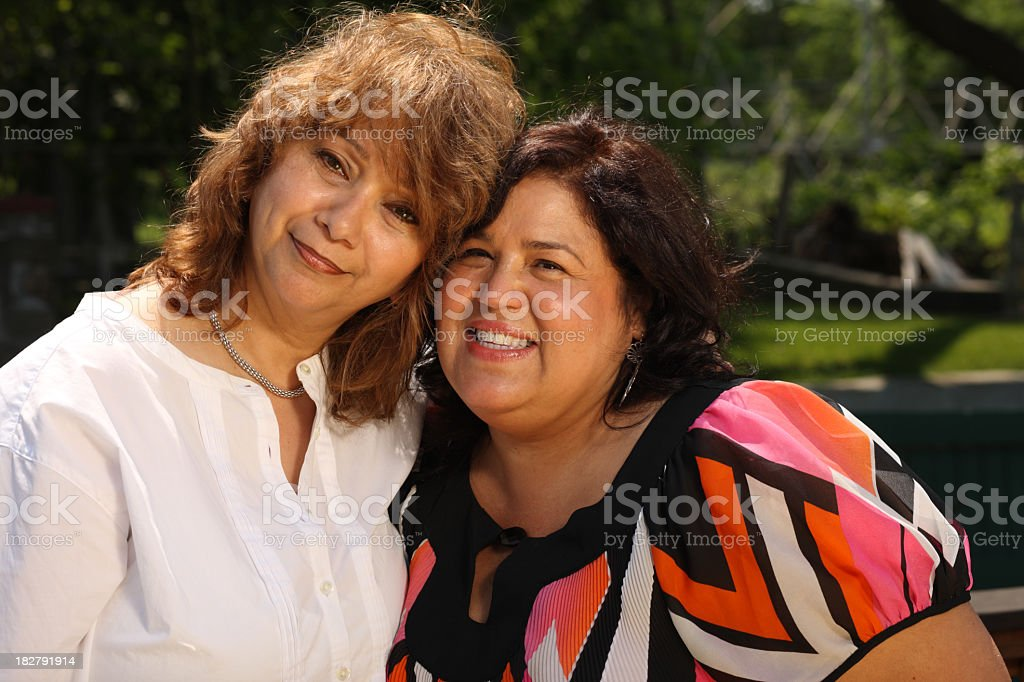 Two middle aged women posing cheerfully royalty-free stock photo