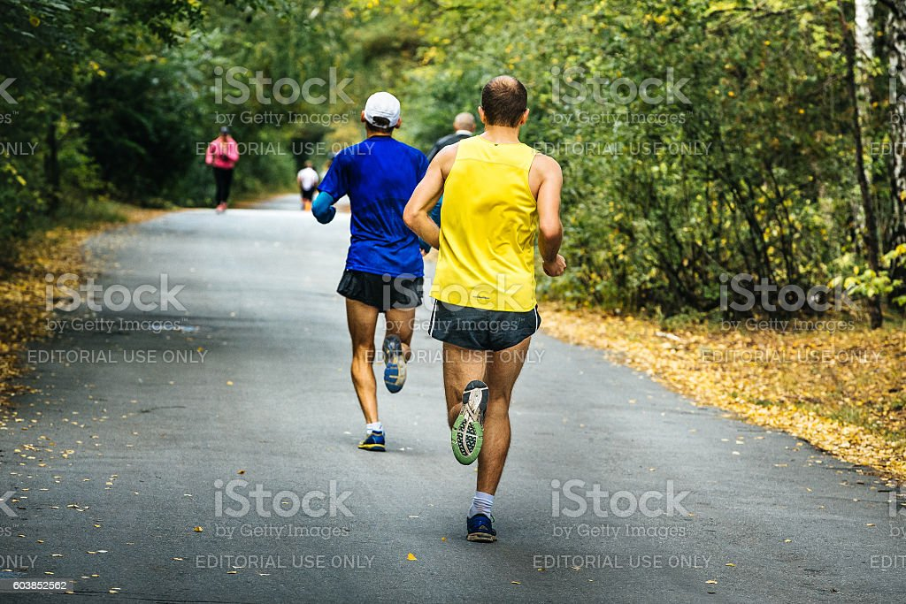 two middle-aged men running in autumn Park royalty-free 스톡 사진