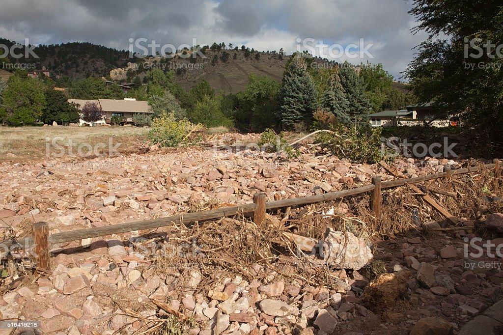 Two Mile Canyon flood damage debris Boulder Colorado stock photo