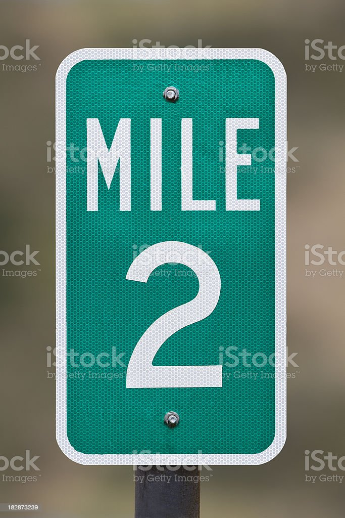 Two Mile Marker stock photo