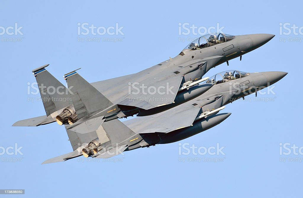 Two military jets against a blue sky stock photo