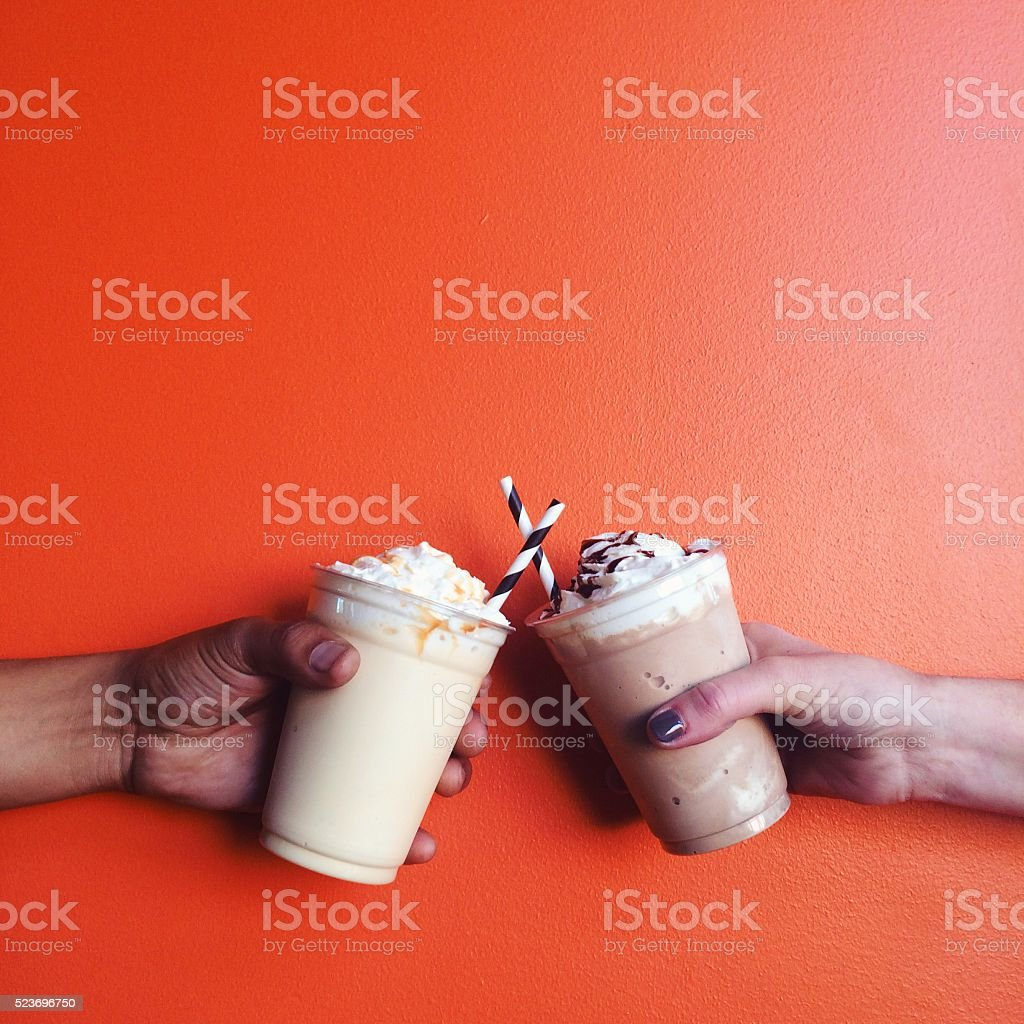 Two Milkshakes on a Date stock photo