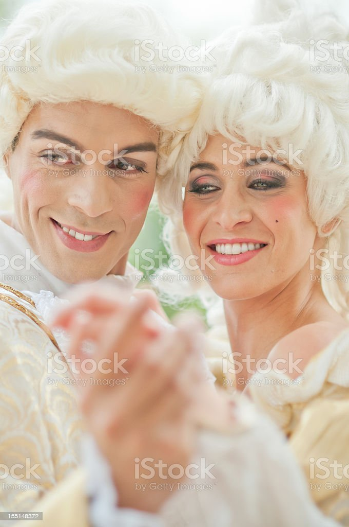 Two models in French Ancient Costumes stock photo