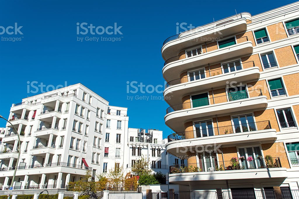 Two modern apartment buildings stock photo