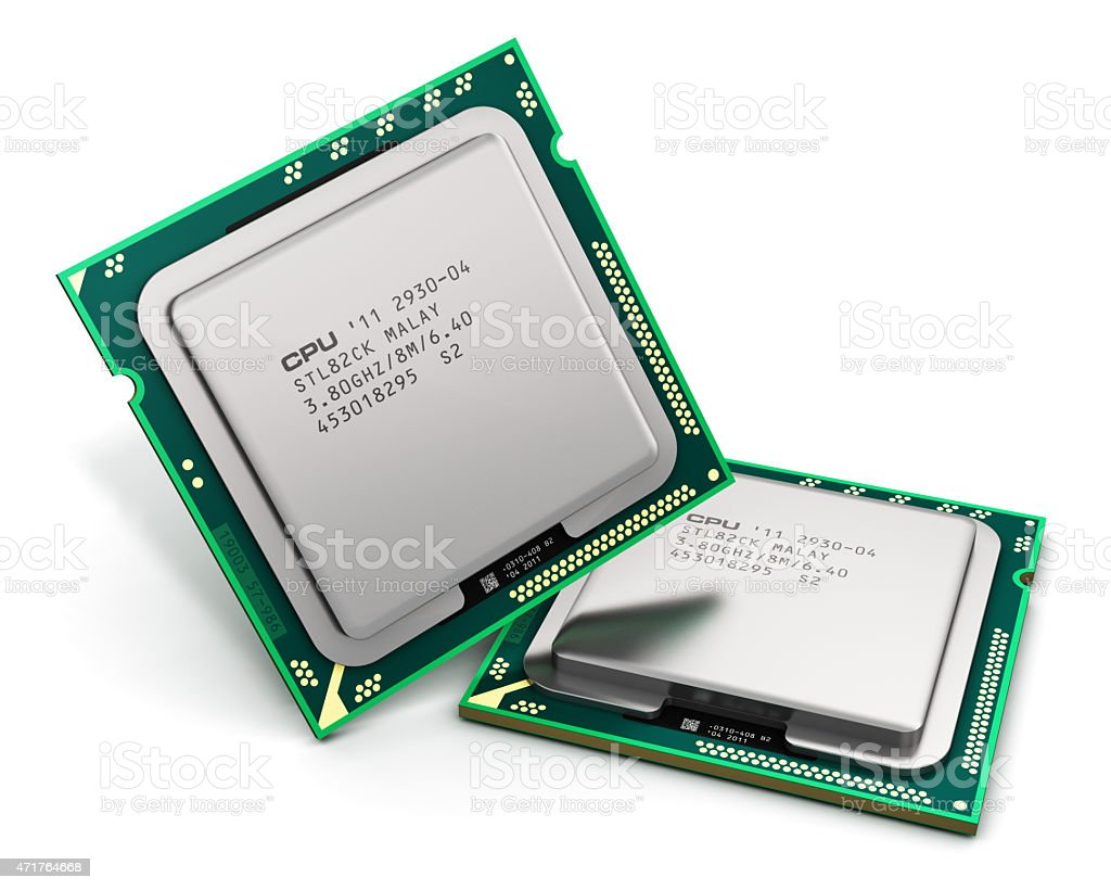 Two modern CPUs isolated on a white background stock photo