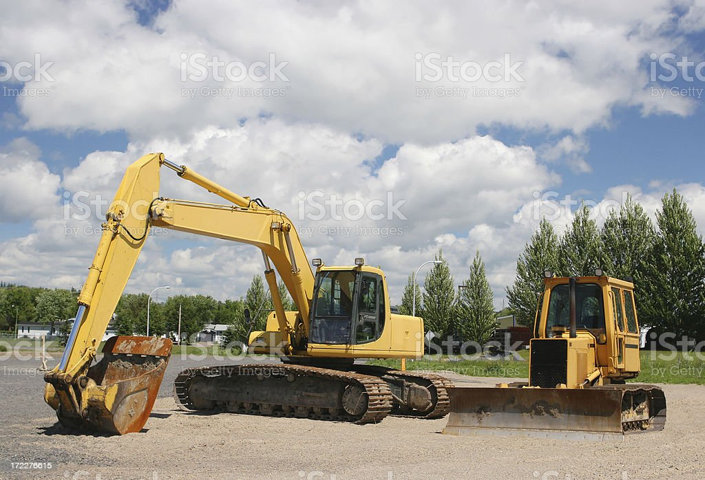 Two Modern Excavation Machines royalty-free stock photo