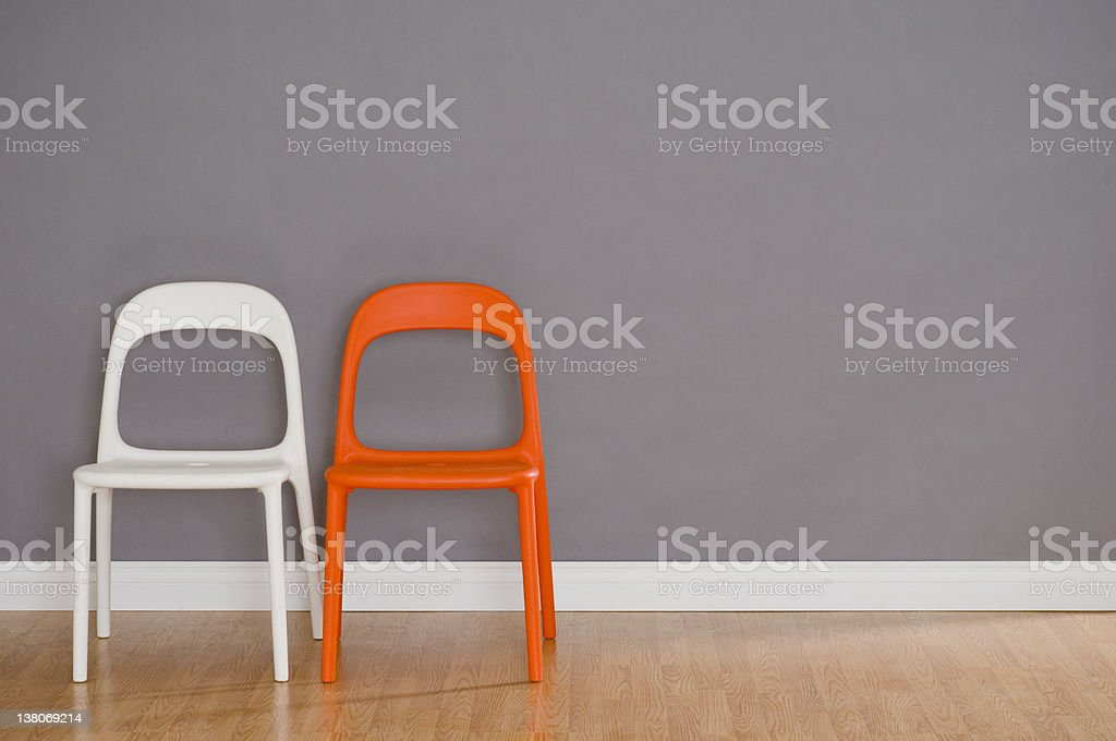 Two Modern Plastic Chairs stock photo