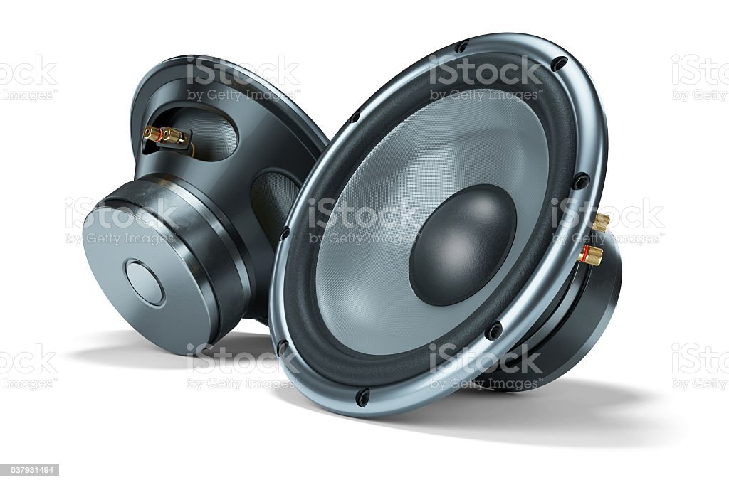 Two modern power loudspeakers stock photo
