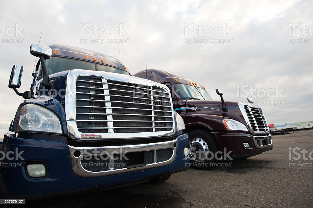 Grilles and headlights of modern semi trucks like the eyes and mouth...
