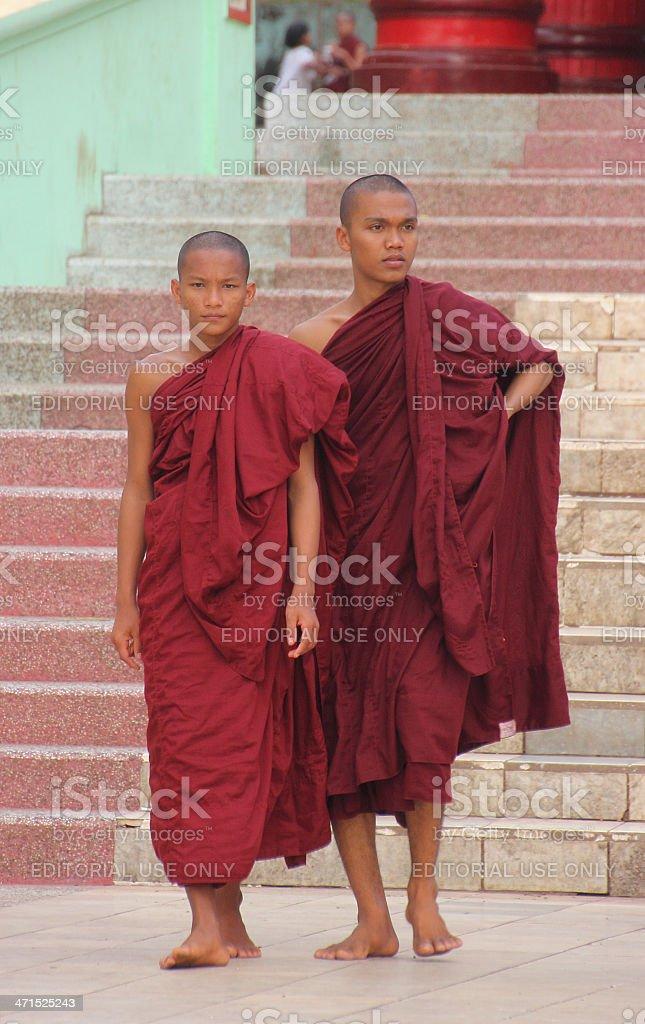 Two monchs at Bago pagoda stock photo