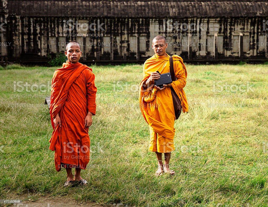 Two Monks At Angkor Wat royalty-free stock photo