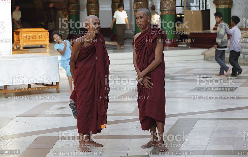Two monks in Shwedagon  pagoda royalty-free stock photo