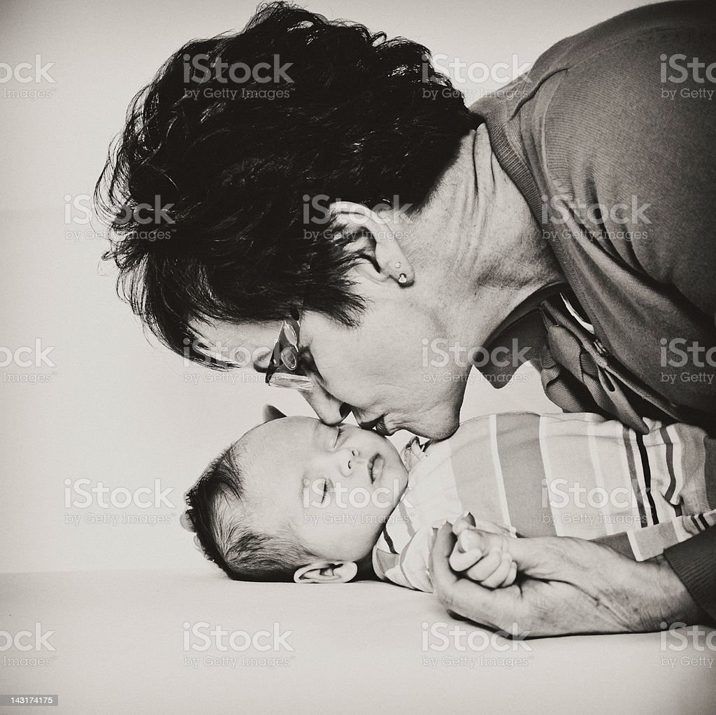 Two Month Old Baby and Grandma stock photo