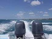 Two motors on boat
