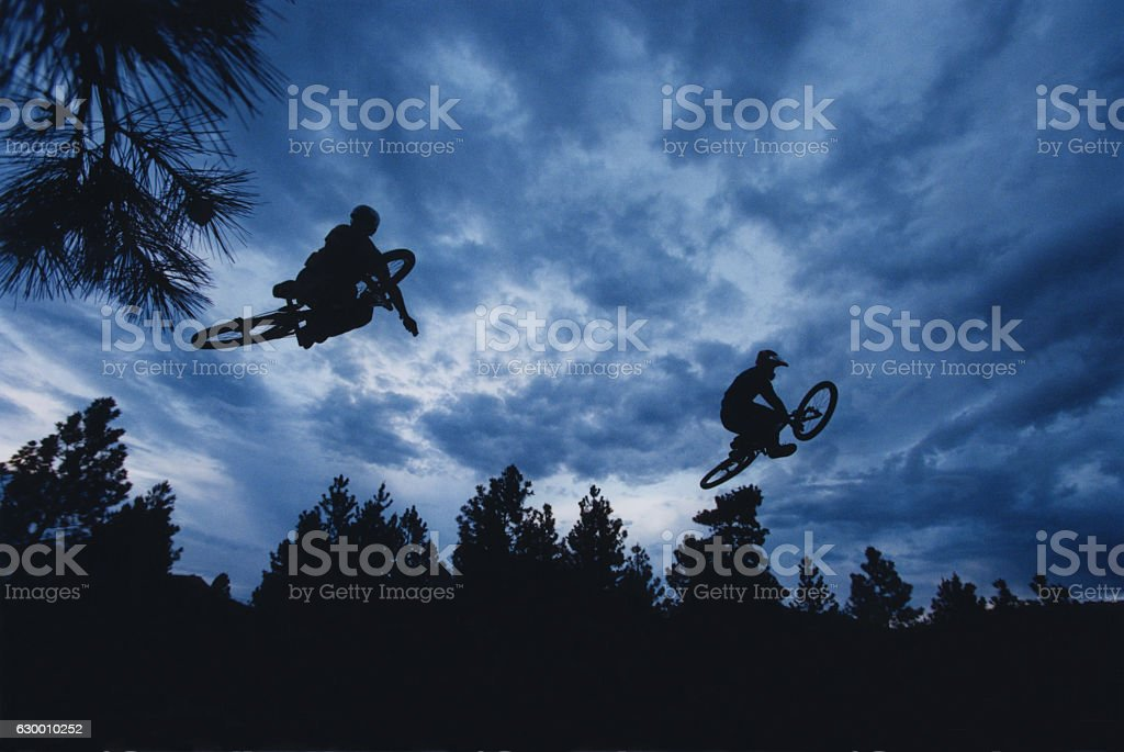 Two Mountain Bike Dirt Jumpers stock photo